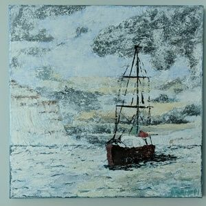 Red boat in Iceland painting